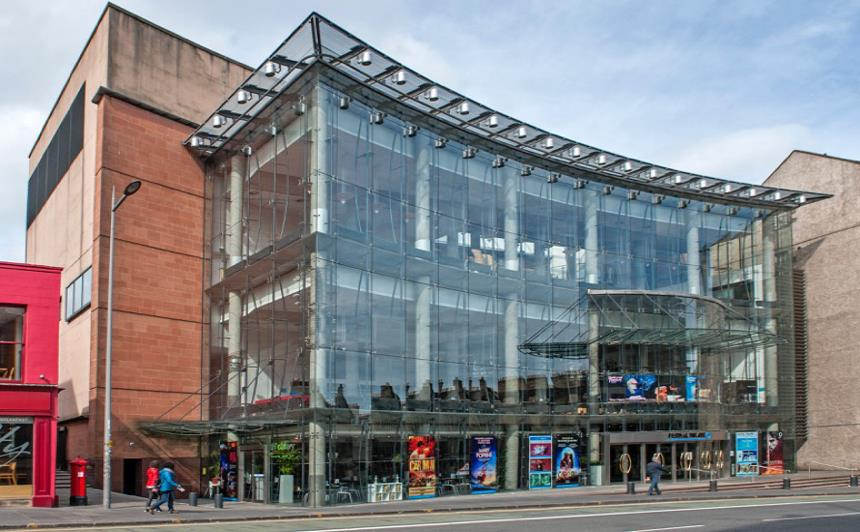 Festival Theatre Edinburgh with its sweeping glass frontage