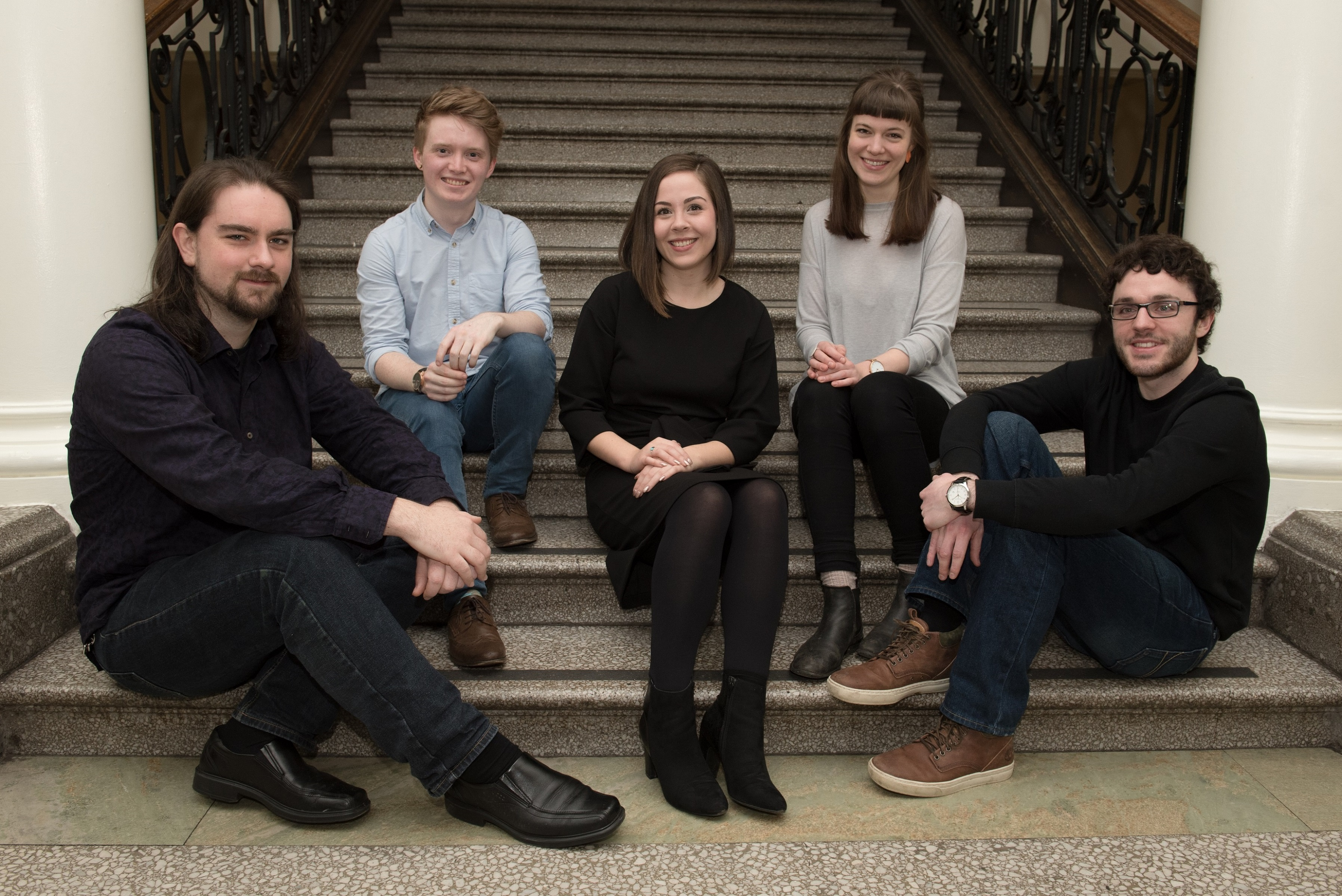 Opera Sparks 2018 winners (left to right) Matthew Whiteside, Henry McPherson, Laura Attridge, Helene Grøn and Lewis Murphy. Scottish Opera 2017. Credit Julie Broadfoot..jpg (1)