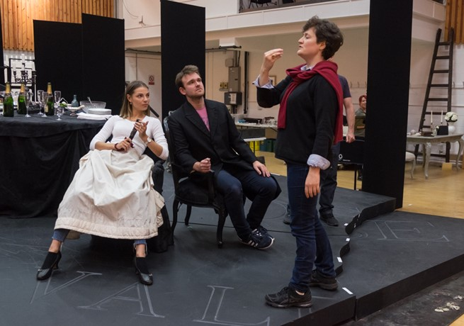 Laura Zigmantaite, Luke Sinclair and Marie Lambert in rehearsals for La traviata. Scottish Opera 2017. Credit Jane Hobson..jpg