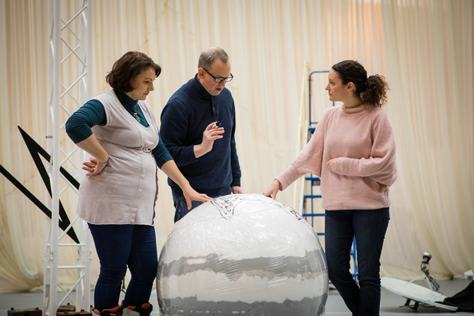 Jeni Bern, Director Matthew Richardson and Jennifer France in rehearsal for Anthropocene. Scottish Opera 2018. Credit Nadine Boyd.jpg
