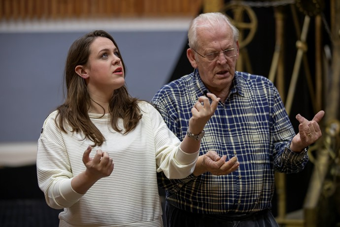 Gemma Summerfield (Pamina) and Director Sir Thomas Allen in rehearsals for The Magic Flute. Scottish Opera 2019. Credit James Glossop.JPG