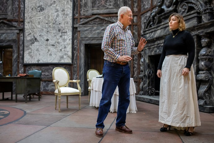 Revival Director Jonathan Cocker with Natalya Romaniw (Tosca) in Tosca rehearsals. Scottish Opera 2019. Credit James Glossop..JPG