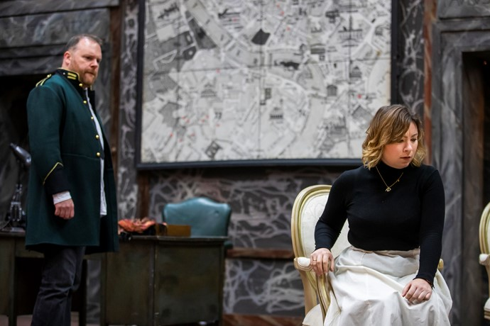 Roland Wood (Scarpia) and Natalya Romaniw (Tosca) in Tosca rehearsals. Scottish Opera 2019. Credit James Glossop..JPG