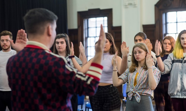 Director Johnny McKnight and Scottish Opera Young Company members in rehearsal (2).JPG