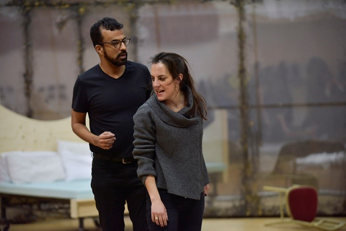 Clare Presland (Hermia) and Michel de Souza (Demetrius) in A Midsummer Night's Dream rehearsal. Scottish Opera 2020. Credit Julie Howden (3).JPG