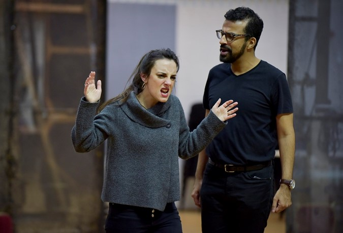 Clare Presland (Hermia) and Michel de Souza (Demetrius) in A Midsummer Night's Dream rehearsal. Scottish Opera 2020. Credit Julie Howden..JPG