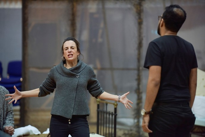 Clare Presland (Hermia) and Michel de Souza (Demetrius) in A Midsummer Night's Dream rehearsals. Scottish Opera 2020. Credit Julie Howden (2)..JPG