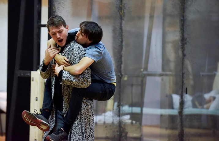 Morten Grove Frandsen (Oberon) and Dan Armstrong (Puck) in  A Midsummer Night's Dream rehearsals. Scottish Opera 2020. Credit Julie Howden..JPG