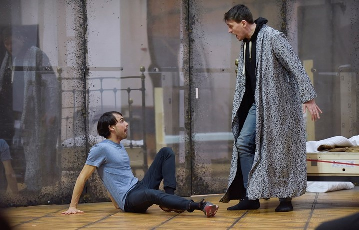 Morten Grove Frandsen (Oberon) and Dan Armstrong (Puck) in A Midsummer Night's Dream rehearsals. Scottish Opera 2020. Credit Julie Howden (2)..JPG