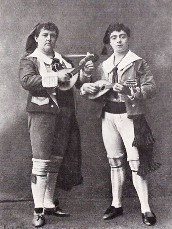 Rutland Barrington (Giuseppe) and Courtice Pounds (Marco) in the original cast of The Gondoliers, 1891.jpg