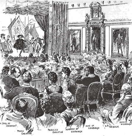 The Gondoliers performed before the Queen and court at Windsor Castle, from the Daily Graphic, 9 Mar 1891.jpg